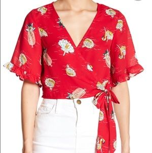 Red Elbow Sleeve Wrap Blouse